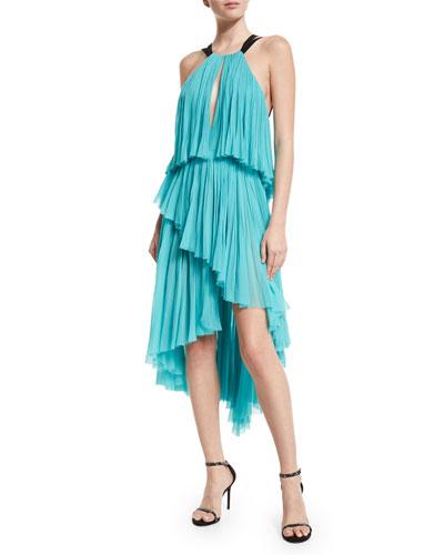 Pleated Silk Halter-Neck High-Low Dress, Light Jade