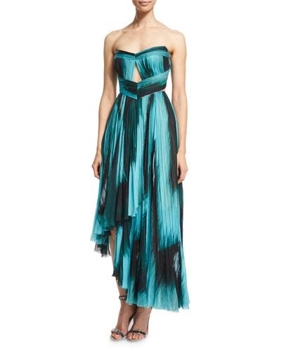 Strapless Pleated Silk Bustier Gown, Black/Jade