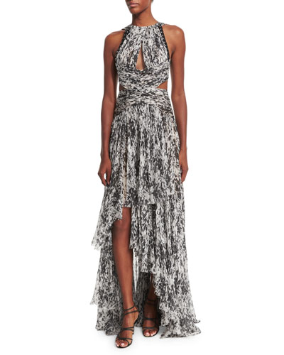 Sleeveless Printed Silk Halter Gown, Black/Ivory