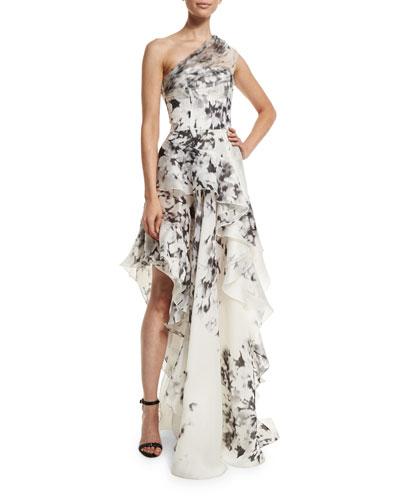 One-Shoulder Floral-Print Silk Gown, Black/Ivory