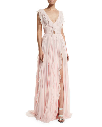 Ruffled Silk Chiffon V-Neck Gown, Cherry Blossom