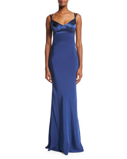 Sweetheart-Neck Silk Gown w/Harness Straps, Navy