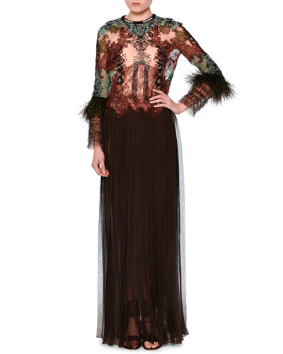 Long-Sleeve Mixed-Lace Silk Combo Gown