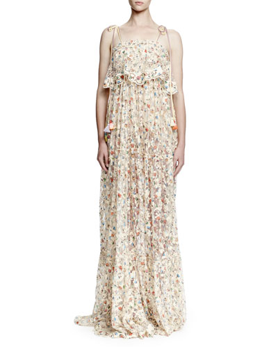 Tie-Shoulder Tiered Floral Lace Gown, Nude Floral
