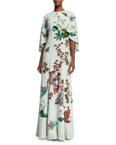 Embroidered Cape-Sleeve Crepe Gown, Mint