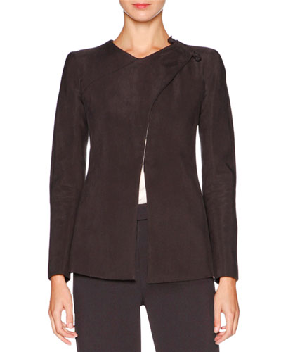 Asymmetric Shoulder-Closure Cupro Jacket, Gray