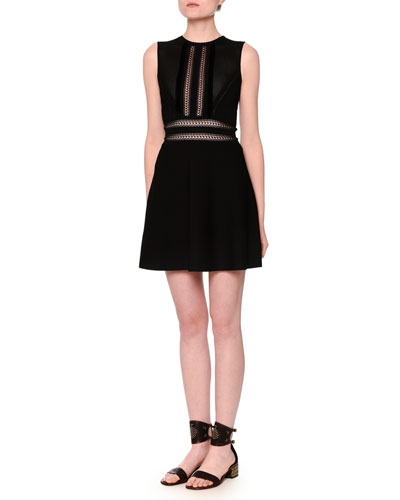 Sleeveless Open-Stitch A-Line Dress, Black