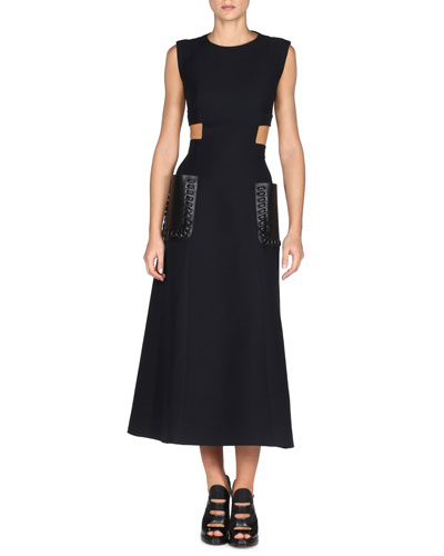 Sleeveless Gazar Midi Dress w/Leather Patch Pockets, Black