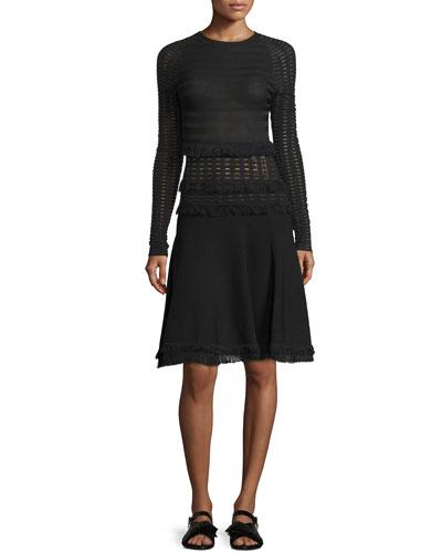 Long-Sleeve Grid Dress W/Fringe Trim, Black
