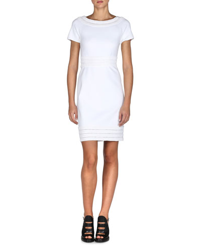 Smocked Short-Sleeve Sheath Dress, White