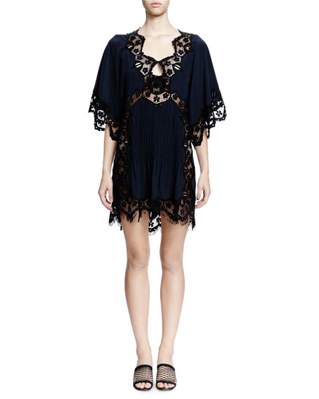 Flutter-Sleeve Lace-Inset Dress, Navy/Black