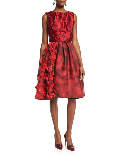 Sleeveless Floral-Applique Cocktail Dress, Ruby