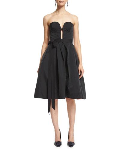 Strapless Two-Tone Cocktail Dress, Black/Sorbet