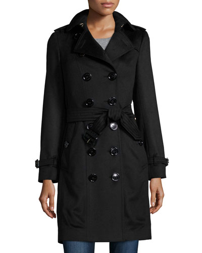 Double-Breasted Cashmere Trenchcoat, Black