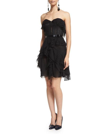 Strapless Layered Chiffon Cocktail Dress, Black