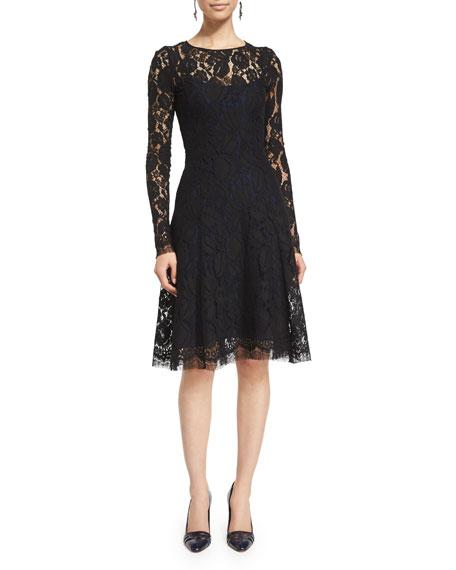Long-Sleeve Lace Overlay Dress, Black/Sapphire