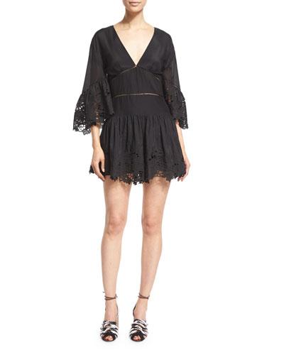 3/4-Sleeve Lace-Trimmed Voile Short Jumpsuit, Black