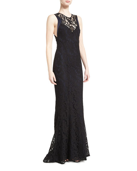Sleeveless Lace High-Neck Gown, Black