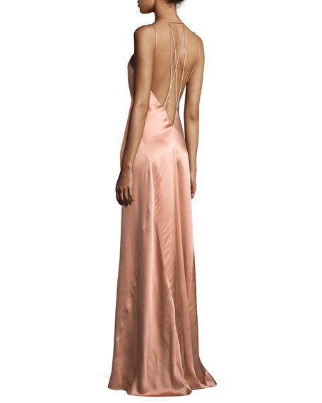 Sleeveless Silk Gown w/Strappy Back, Copper