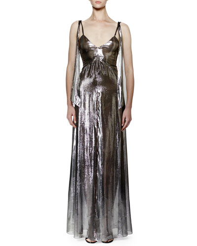 Sleeveless V-Neck Lamé Gown, Silver