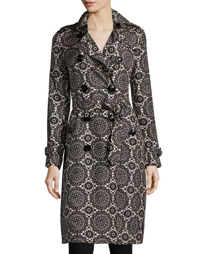 Silk Lace-Printed Trenchcoat, Black