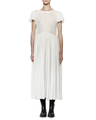 Flutter-Sleeve Embroidered Silk Midi Dress, White