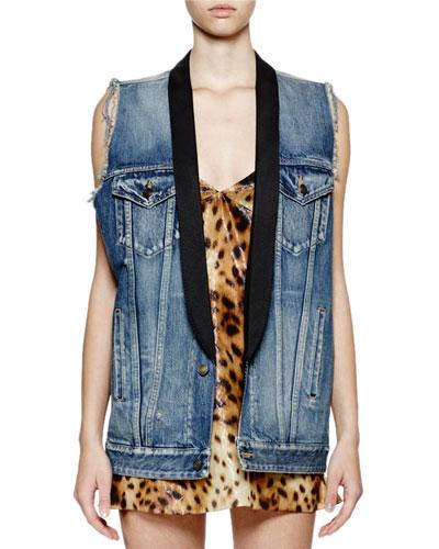 Oversized Denim Shawl-Collar Vest
