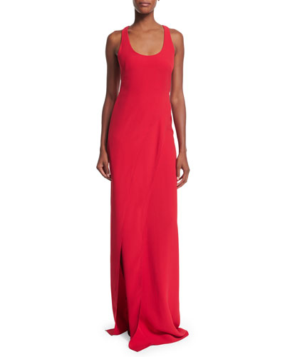 Sleeveless Scoop-Neck Silk Cady Column Gown, Bright Red