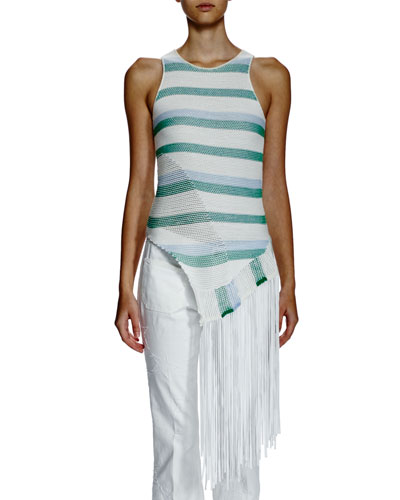 Sleeveless Striped Asymmetric-Fringe Top, Gray/White