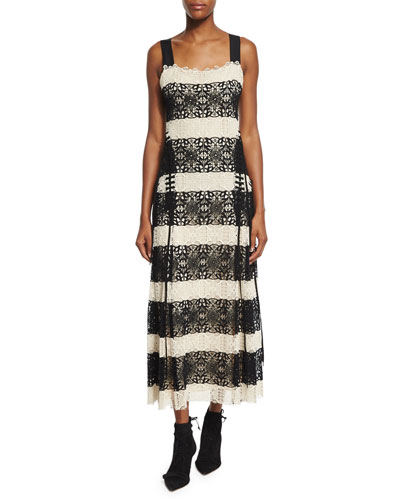 Sleeveless Striped Guipure Lace Cami Gown, Black/Natural