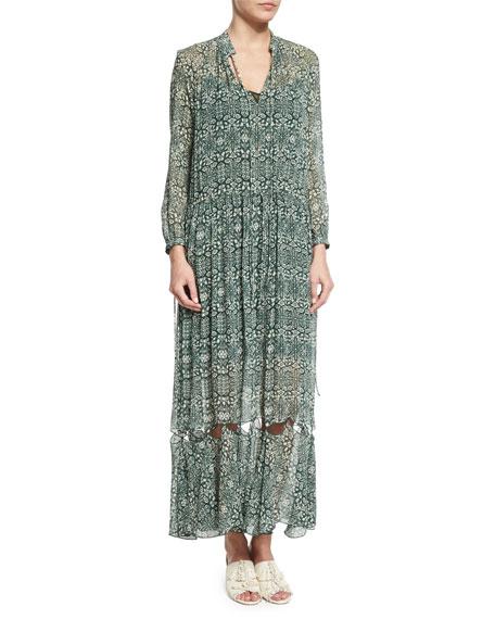 Long-Sleeve Tie-Neck Cutout-Hem Dress, Green/Multi