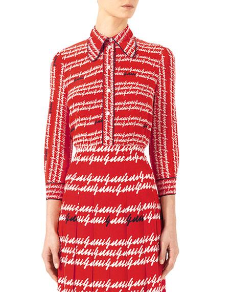 Well-liked Gucci Gucci-Print Silk Shirt & Exotic Printed Silk Pleated Skirt MQ11