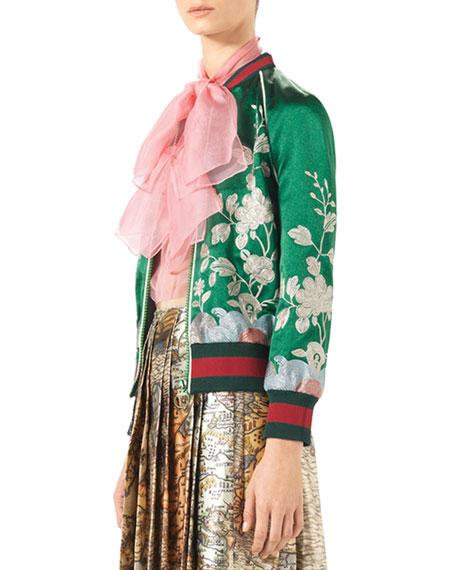 Duchess Silk Bomber Jacket, Green Garden