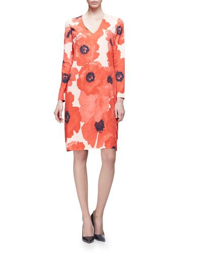 Long-Sleeve Poppy-Print V-Neck Dress, Red/Multi
