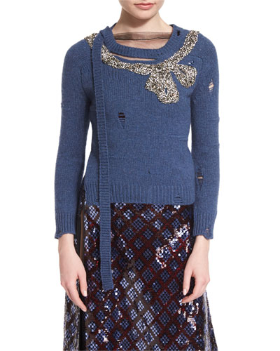 Long-Sleeve Distressed Knit Sweater, Blue