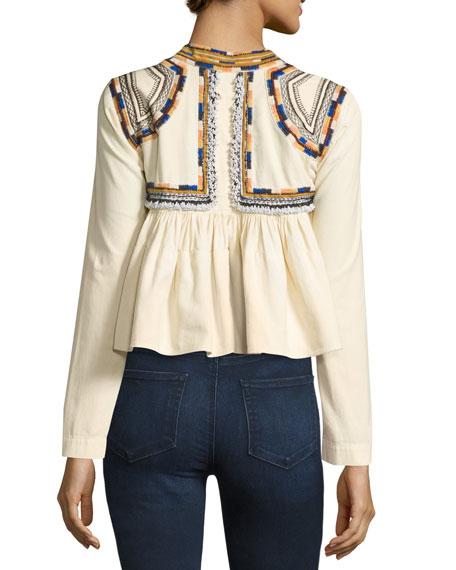 Embroidered Cotton Crop Top, Ecru