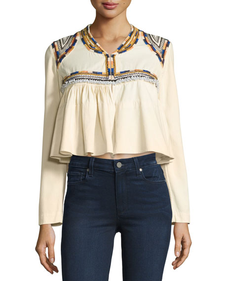 Embroidered Cotton Crop Top, Ecru