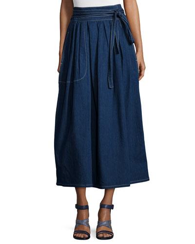Dirndl Denim Wrap Midi Skirt, Navy