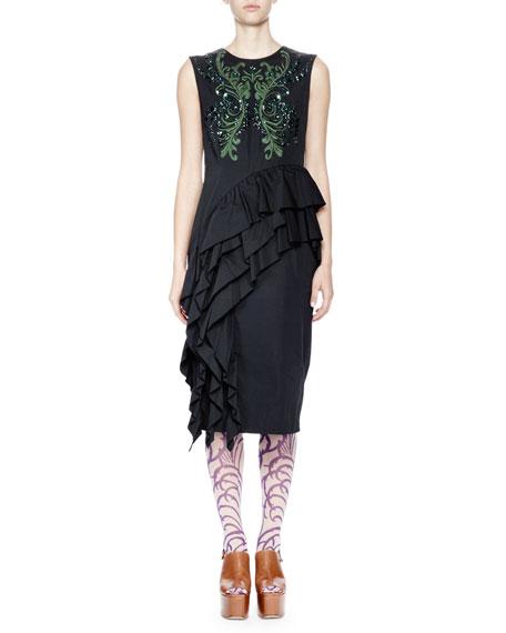 Darrel Sequined Asymmetric Ruffle Dress, Black/Green