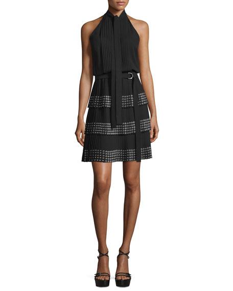 Sleeveless Dress W/Grommet-Embellished Skirt, Black