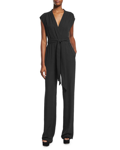 Wide-Leg Self-Belt Jumpsuit, Black