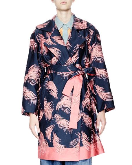 Rita Feather-Print Faille Coat, Navy/Blush