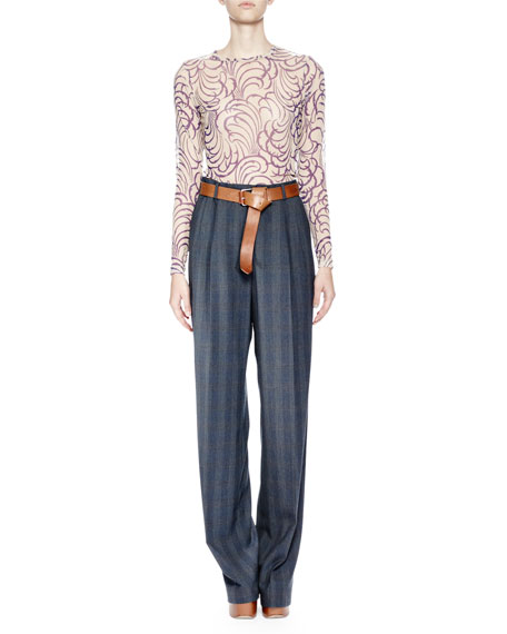 Page Plaid Straight-Leg Wool Pants, Charcoal