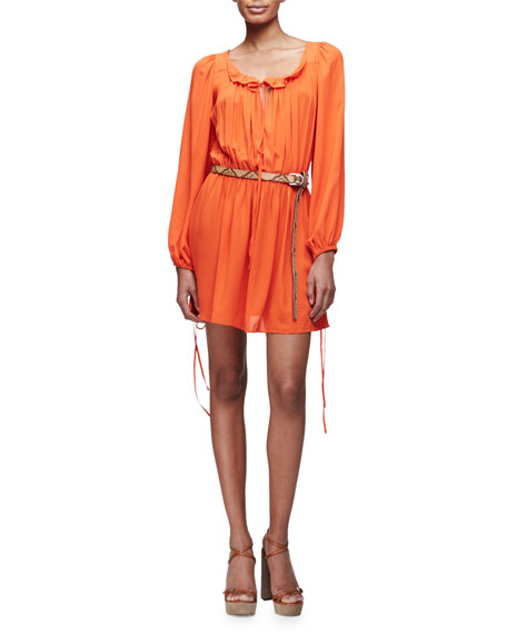 Poet Long-Sleeve Mini Dress, Orange