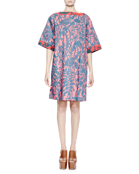 Drees Half-Sleeve Stencil-Print Trapeze Dress, Coral/Petrol