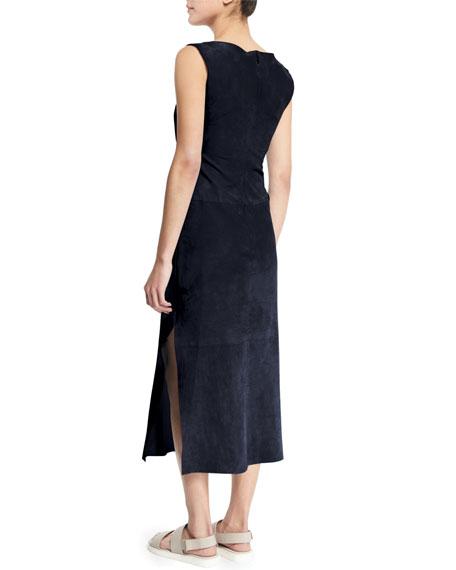 Sleeveless Bateau-Neck Sheath Dress, Navy