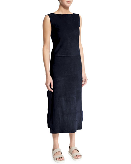 Adam Lippes Sleeveless Bateau-Neck Sheath Dress, Navy
