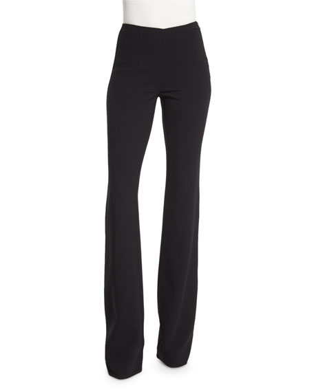 Flare-Leg Wool-Crepe Pants, Black