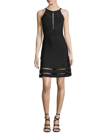 Open Lace-Up Bandage-Knit Halter Dress, Black