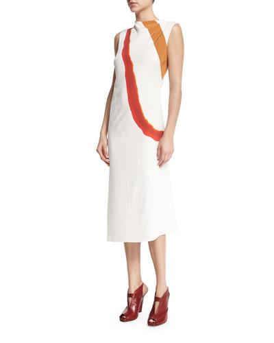 Sleeveless Draped Diagonal-Stripe Dress, White